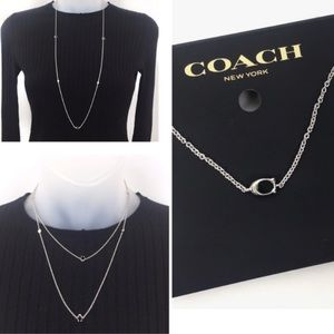Coach silver long chain necklace with Coach logo